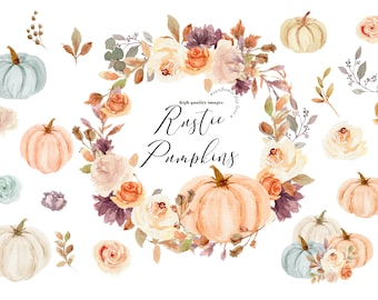 Rustic Mint Orange & White Pumpkin clipart, Watercolor Fall autumn Pumpkin element watercolor Clipart, Boho Floral leaves Digital Clip art,
