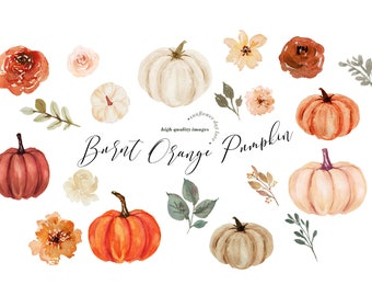 Burnt Orange Pumpkin clipart, Pumpkin watercolor clipart, Fall Autumn Orange Pumpkins Boho Floral Leaves, Greenery Pumpkin Digital Clip art