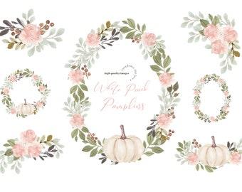 Floral Frame Modern Flowers White Peach Pumpkin clipart, Elegant Fall autumn Pumpkin watercolor clipart, Greenery Pumpkin Digital Clip art
