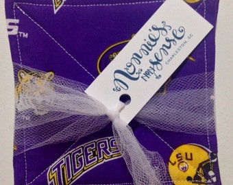 LSU Fabric Coasters. LSU Tigers Fabric Coasters. Tigers! Game Day. Louisiana State University. College Coasters. Unique Gift. Washable.