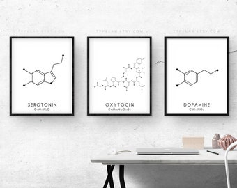 Molecule Print Set, Serotonin, Oxytocin & Dopamine Prints in White, Molecular Structure Wall Art, Chemistry Wall Art, Science Wall Decor