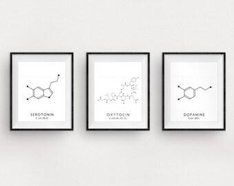 Molecule Printable Art Set - 3 Serotonin, Oxytocin & Dopamine Digital Print - Molecular Structure Chemistry Printable - Instant Download