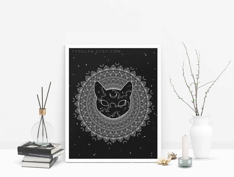 size 40 retail prices best price Cosmic Cat Mandala Art Print, Mandala Poster Space Wall Art, Dotwork Art  Cat Wall Decor, Mandala Print, Space Poster, Black & White Wall Art