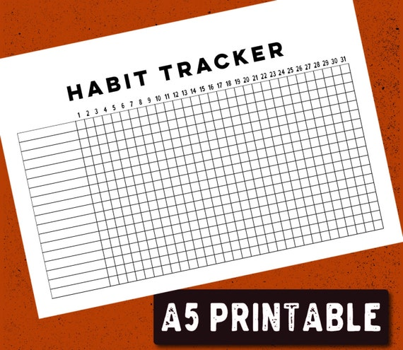 photograph relating to Bullet Journal Habit Tracker Printable titled PRINTABLE Bullet Magazine Pattern Tracker - A5