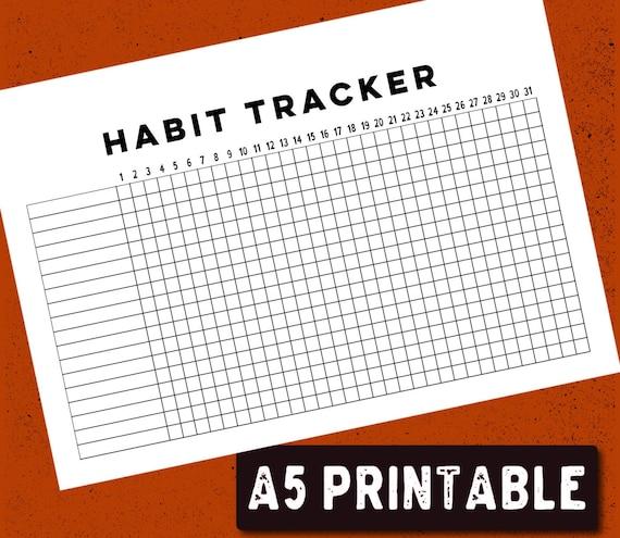 photograph about Bullet Journal Habit Tracker Printable identify PRINTABLE Bullet Magazine Behavior Tracker - A5
