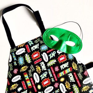 Blue and Grey Moustache Laminated Cotton Adult Apron Red Black