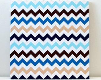 Blue and Beige Chevron Wall Art