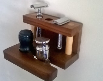 wall mounted safety razor and brush stand
