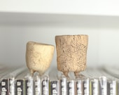 Ceramic Pot , Containers ,Vintage planter , rustic Rock planter , Wood bark texture PM104