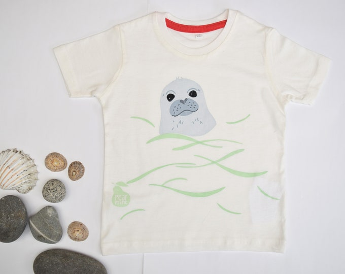 Toddler T-shirt with a swimming seal pup in organic cotton. Childs swimming gift. Animal t-shirt.