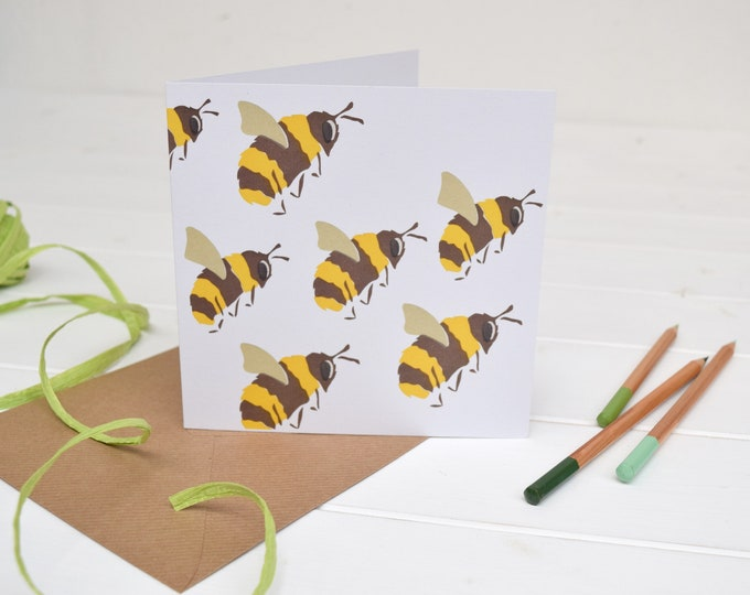 Bees greetings card. Bumble bees card. Save the Bees!
