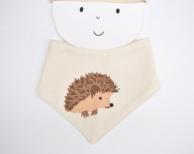 Hedgehog baby bandana bib in organic cotton.