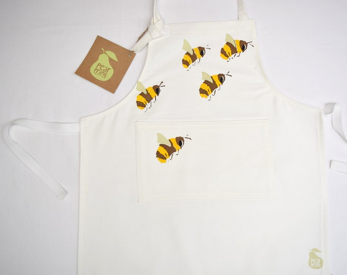 Bumble bees childs apron, organic cotton twill, hand printed and hand made in Wales
