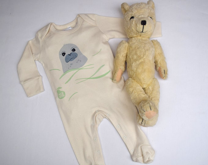 Swimming seal pup organic cotton baby sleepsuit. Baby grow. Pyjamas. Baby boy or baby girl gift.