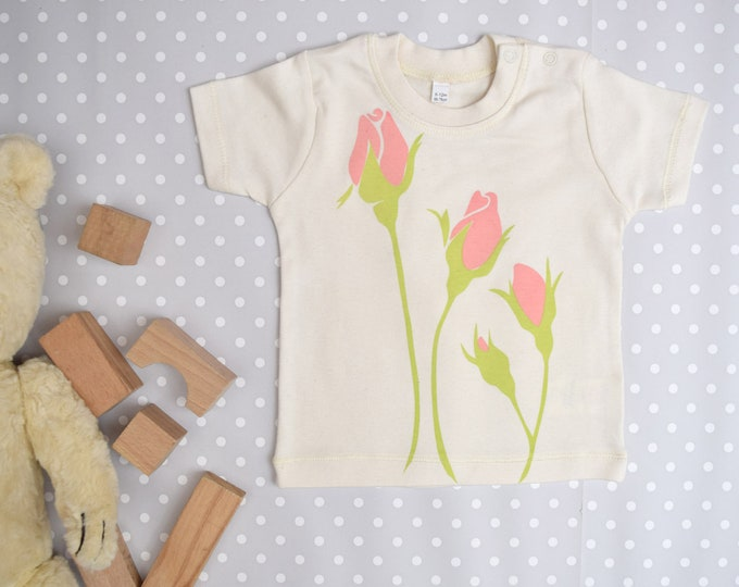 Rose baby t-shirt in organic cotton.