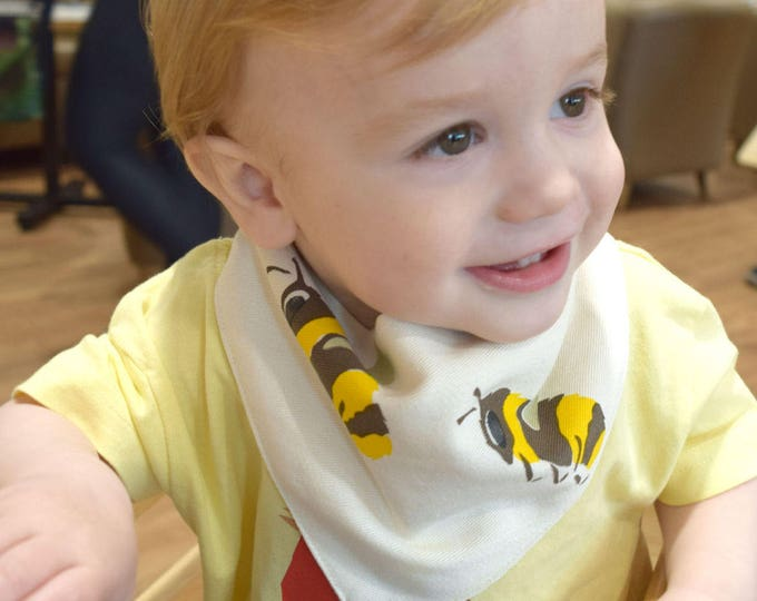 Bees baby bandana bib in organic cotton.
