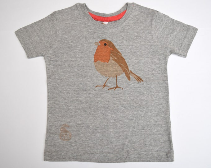 Sale - Robin marl grey childs T-shirt.