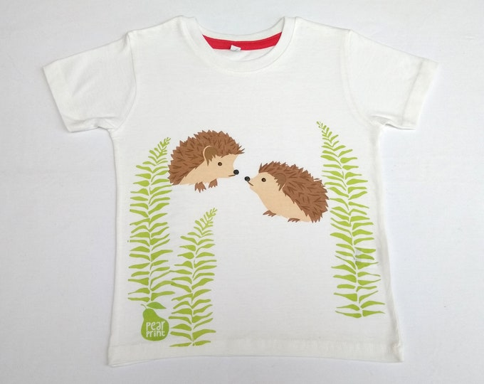 Sale -Hedgehogs with ferns childs T-shirt.