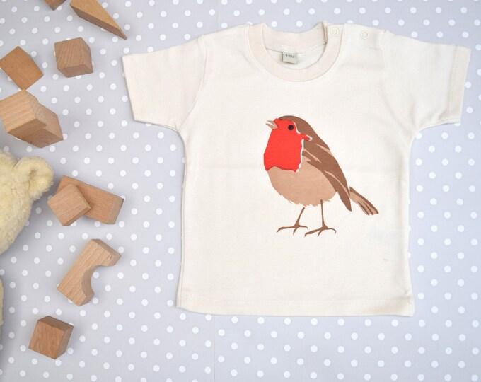 Robin baby t-shirt in organic cotton.