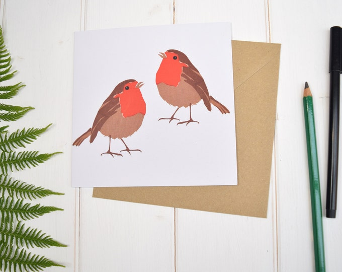 Robins Greetings Card. Christmas Card. Garden birds. Bird lovers card.