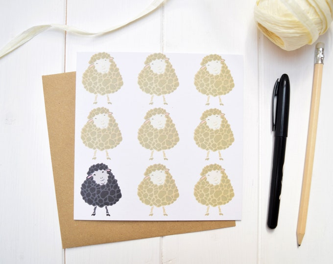 Black sheep greetings card. Baa baa black sheep. Birthday card.