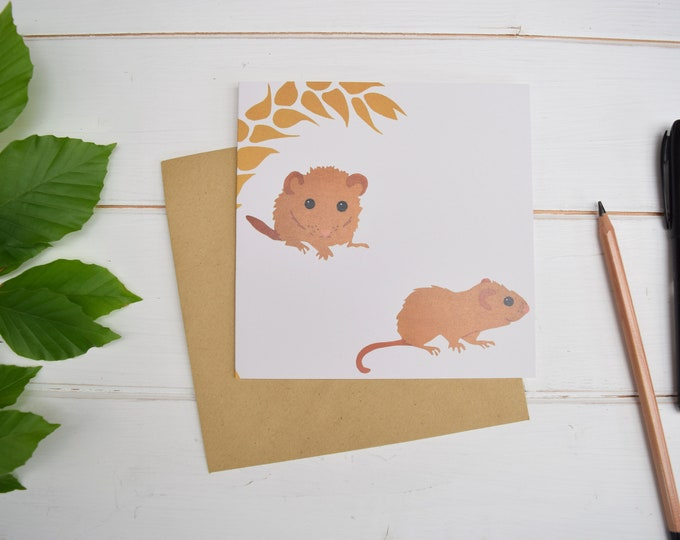 Dormice with wheat greetings card.