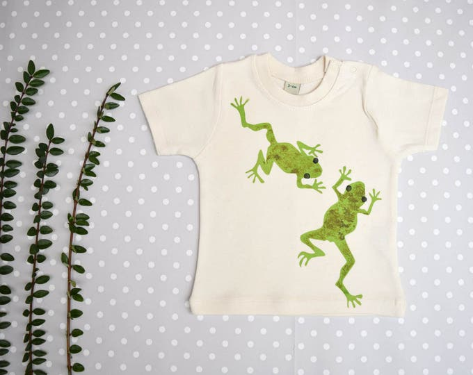 Frog baby t-shirt in natural organic cotton.