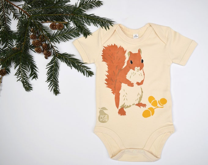Baby bodysuit, organic cotton with hand printed squirrel. Oak and acorns.