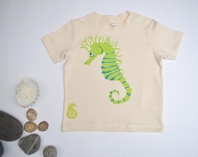 Seahorse Baby/Toddler T-shirt or Baby bodysuit. Chartreuse green seahorse.