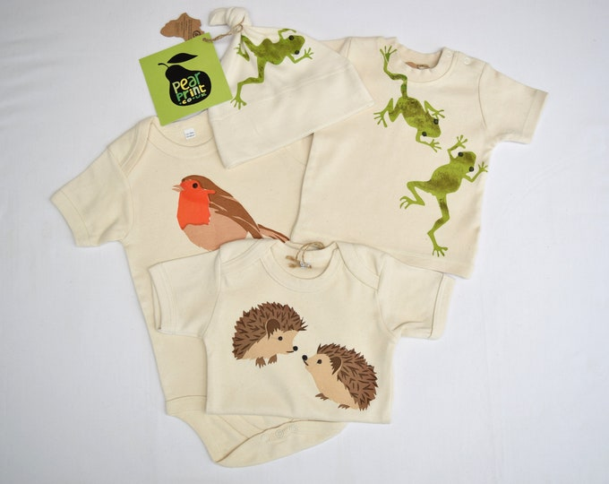 Woodland and garden themed sale bundle of 4 baby garments. Just one set available. Seconds.