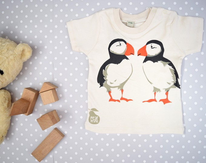 Puffins baby t-shirt in organic cotton.