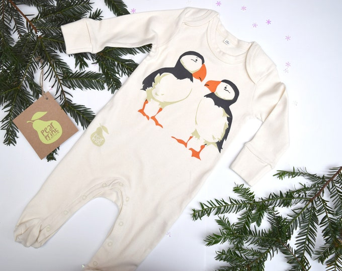 Organic cotton baby sleepsuit with puffins. Baby grow. Pyjamas. Baby boy or baby girl gift.