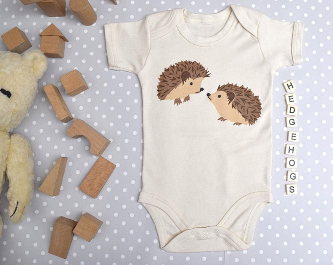 Hedgehogs baby one-piece in organic cotton. Baby bodysuit.