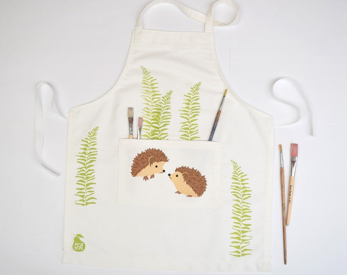 Childs apron, hedgehogs amongst the ferns, organic cotton, hand printed and hand made in Wales