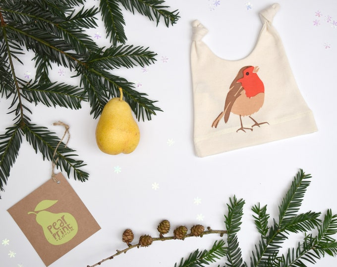 Baby hat with a robin print in organic cotton. New baby gift. Wildlife baby gift.