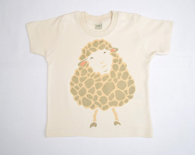 PearPrint organic baby t-shirt with a sheep.  Baby boy or baby girl gift. Cute baby clothing.