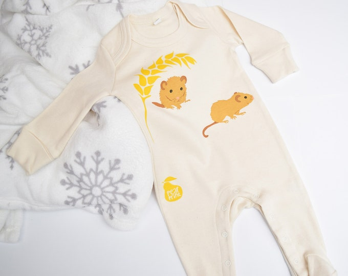 Organic cotton baby sleepsuit with two dormice. Baby grow. Pyjamas. Baby boy or baby girl gift.