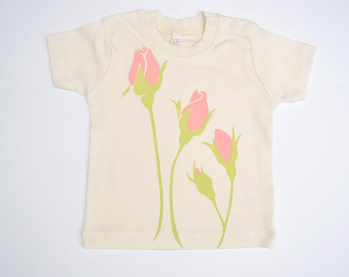 Sale - Rose baby t-shirt in organic cotton.