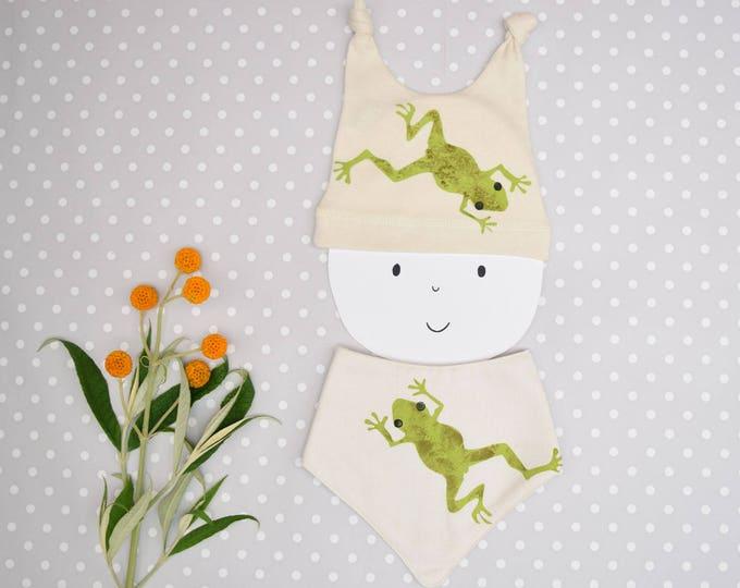 Frog baby bandana bib in organic cotton.