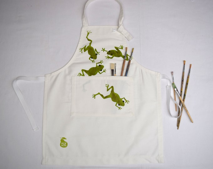 Pond life childs apron, with jumping frogs, organic cotton, hand printed and hand made in Wales