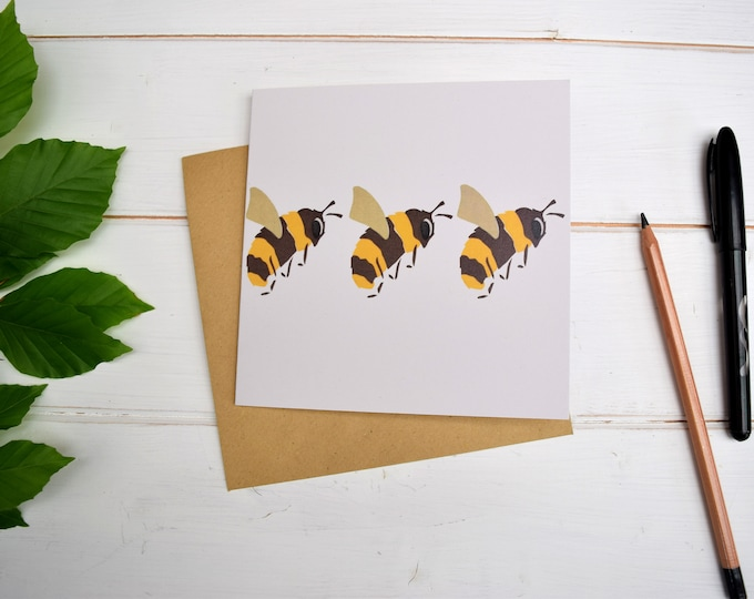 Bees greetings card. Three bumble bees card. Save the Bees!