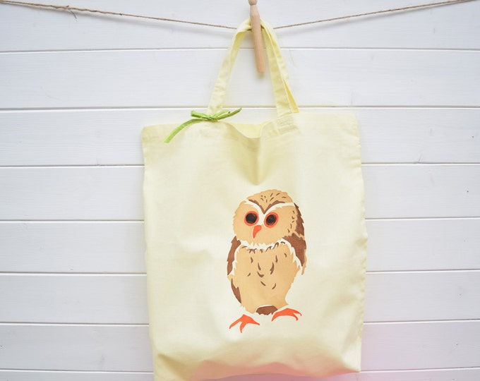 Cotton Owl Tote Bag.Pale Yellow