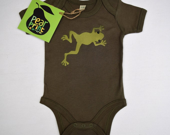Camo green baby and toddler bodysuit or t-shirt with a frog . Organic cotton