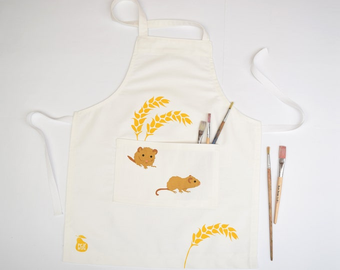 Childs apron, 2 little dormice with golden wheat, organic cotton, hand printed and hand made in Wales