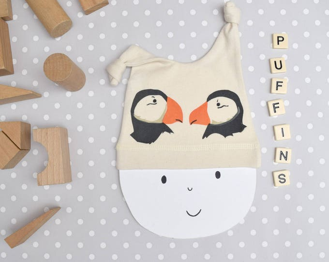 Puffin baby hat in organic cotton.