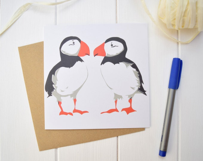 Puffins greetings card.
