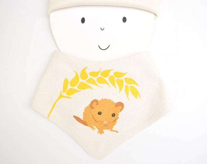 Dormouse baby bandana bib in organic cotton.