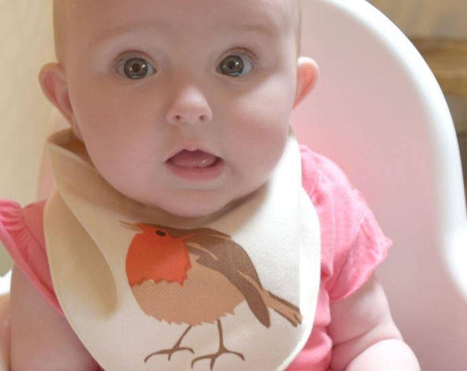 Baby bandana bib with a robin print in organic cotton. Teething drool bib. Wildlife baby gift.