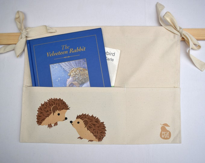 Bed tidy with hedgehogs. Bunk bed caddy. Cot caddy. Kids book holder.