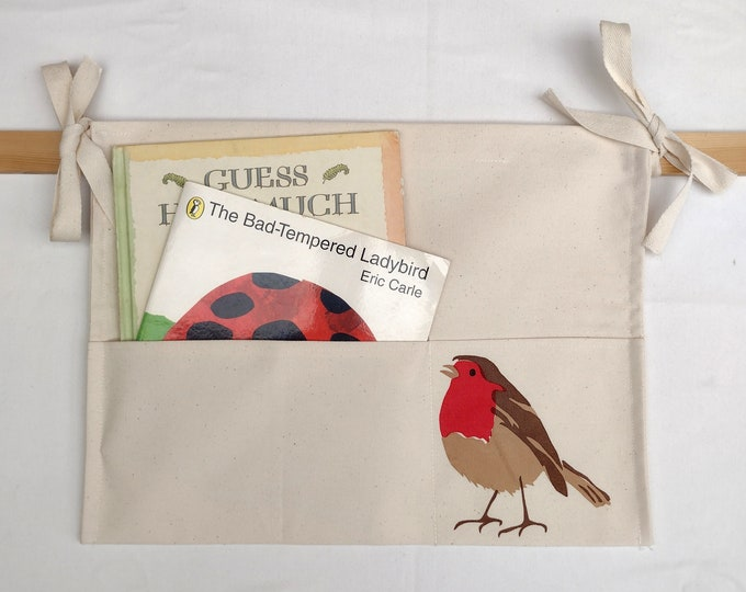 Bed tidy with a robin. Bunk bed caddy. Cot caddy. Bed book holder.Hanging storage organiser.